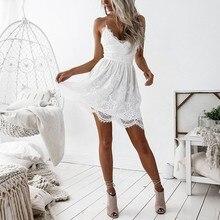 Для женщин Sexy v-образным вырезом спинки Strappy бинты Платья для женщин Кружево лоскутное мини летнее платье без рукавов Женская мода vestiods