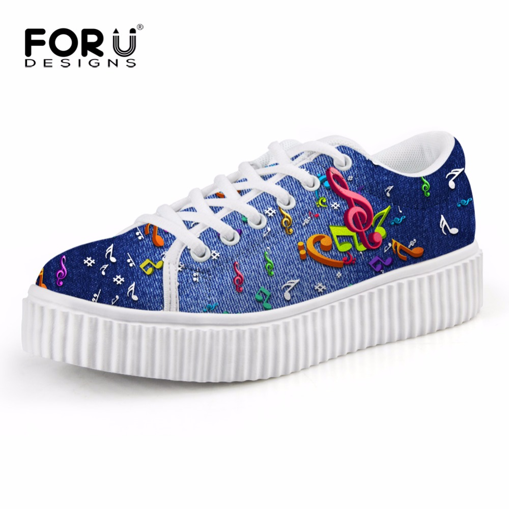 FORUDESIGNS Classic Low Style Casual Shoes Woman Autumn Denim Musical Note Printed Women Flat Platform Shoes for Female Flats
