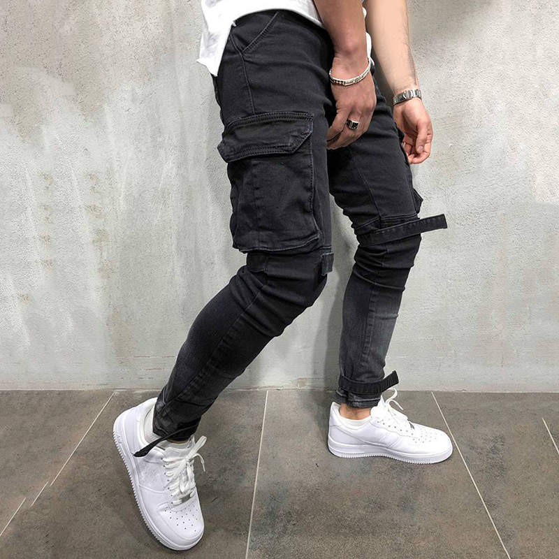 2019 Men's Harem Jeans Pants Man Denim Black Pant Men Hip Hop Sportswear Male Joggers Pants Fashion Pockets Fit Long Trousers