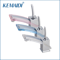KEMAIDI New White/Pink/Blue Color Basin Torneira Waterfall Bathroom Chrome Deck Mount Brass Single Handle Sink Faucet Mixer Tap