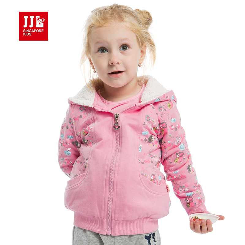 baby girls winter coat warm linning for toddler girls hooded jacket 2015 new baby clothing