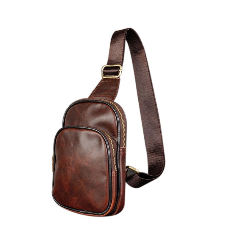 Men/'s Leather Sling Bag Chest Shoulder Cross Body Cycle Day Packs Satchel Travel