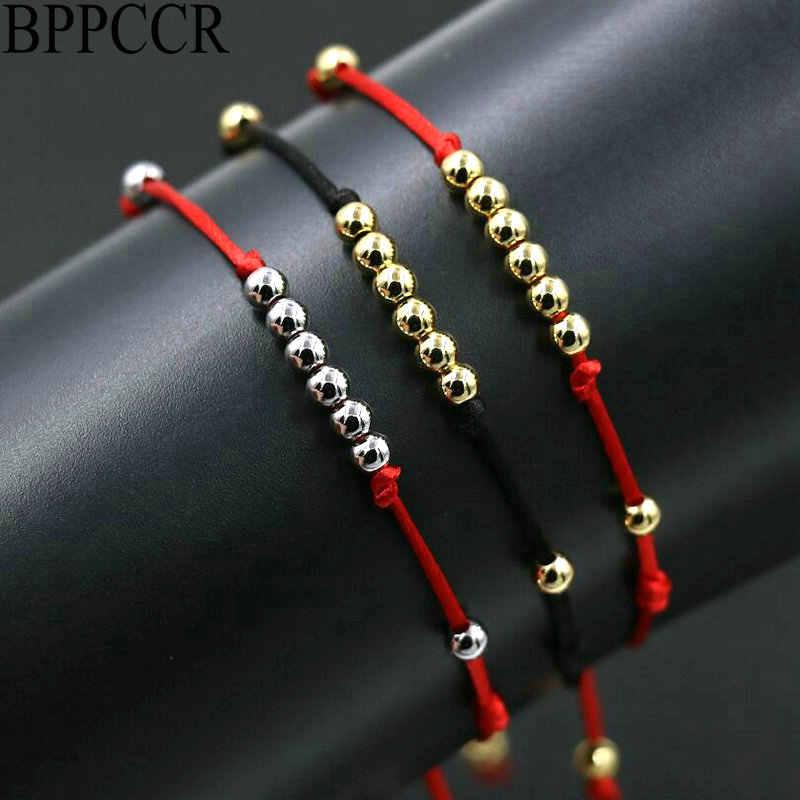 BPPCCR למעלה 4MM נירוסטה חרוזים אדום שחור חבל מיתרי חוט צמת צמידי גברים נשים מזל Pulseras אוהבים מתנות