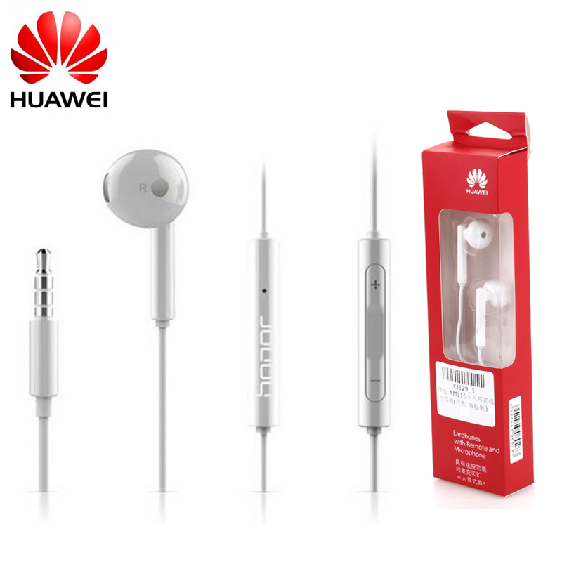 Original Huawei AM115 Earphone With Microphone Stereo earphone Earbuds for xiaomi huawei Android Smartphone,for MP3 MP4 For PC newest original huawei honor engine earphone am116 with microphone remote 3 5mm in ear earbuds for pc huawei xiaomi mobile phone
