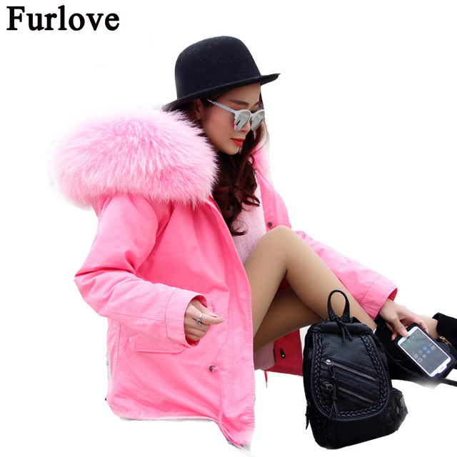 Furlove Warm 2016 New Winter Jacket Women's Parkas Coats Large Raccoon Real Fur Winter Jacket Collar Hooded Fashion Quality TOP thicken warm 2017 new winter jacket women s parkas coats large raccoon fur collar winter jacket collar hooded fashion quality