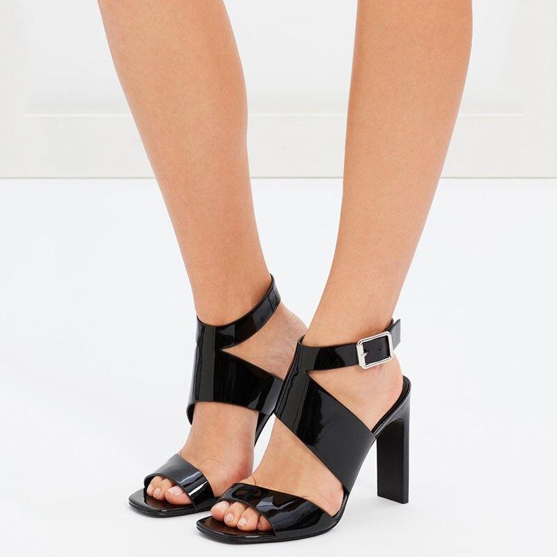 Pour 2019 Ty01 Boucle Cheville Cuir Chaussures De Solide Minces Talons wrap Haute Base Sandales Noir Élégant En Verni Femme Mature Super dxwRxS