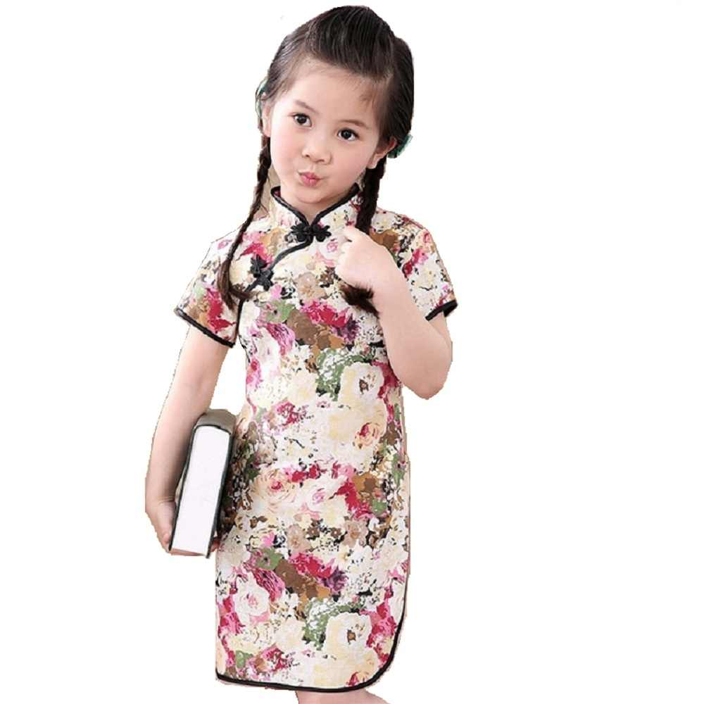 621ef27b69cea Flower Baby Girl Dresses Summer Fashion Children Qipao Chinese New Year  Girl's Cheongsam Clothes Outfits Floral Chi-Pao Dress