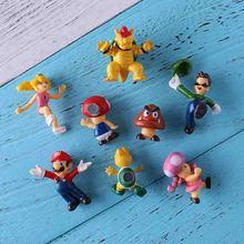 8/19pcs 2019 New Arrival 3D Super Mario Bros Fridge Magnets  Message Sticker Adult Boy Children Toy Birthday Gift sticker