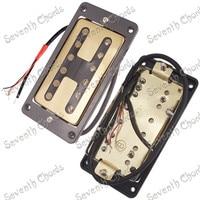 A Set 2 Pcs H type Hole Covers Bridge Neck Guitar Humbucker Pickup Set for Electric Guitar 4 Wire Gold Guitar parts