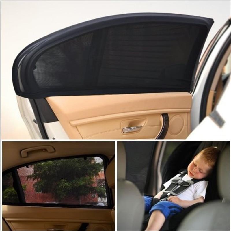 2pcsset Black Adjustable Auto Car Side Rear Window Sun Shade Black Mesh Car Cover Visor Shield Sunshade UV Protection Size L