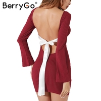BerryGo Backless Lace Up Sexy Winter Sweater Dress Women O Neck Long Sleeve Black Bodycon Dress