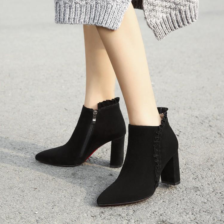 Bout Chaussures Latérale orange Zapatos Femmes Pour Bottes Noir Chunky Glissière Ruches Talon Haute Noir Suédé Pointu Rose Femme Cheville Chic rose xwa8OqSnH