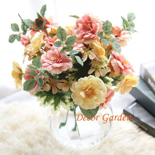 Diy Wedding Flowers.Us 17 99 10 Off Artificial Fake Oil Painting Vintage Tea Rose Flower Bouquet For Diy Wedding Flower Floral Store Home Decoration Planta No Vase In