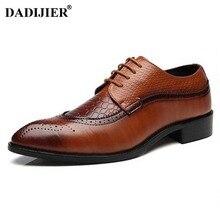 DADIJIER/размеры 47, 48, Мужские модельные туфли из искусственной кожи, Кожаные полуботинки с острым носком, дизайнерские роскошные мужские туфли со шнуровкой, JH102