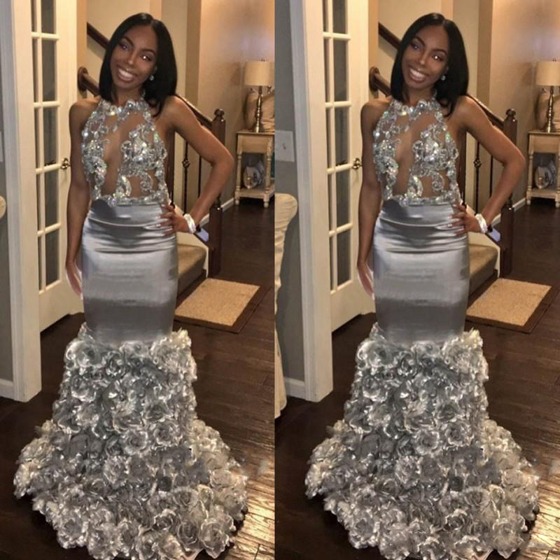 2018 Modern Black Girls Mermaid Prom Gowns Sexy Backless -5795