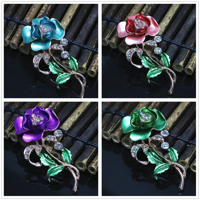 Bohemia rose gold color beautiful flower rhinestone brooches charms