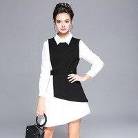 2017 senhoras de Inverno elegante set twinset vestido assimétrico elegante vestido de festa bonito temperamento vestidos plus size S-XXXXXL