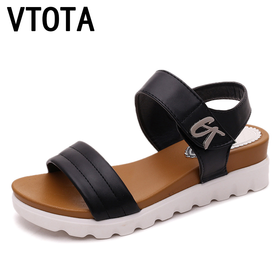 VTOTA Gladiator Sandals Women Flats Summer Shoes Slip-On Shoes Woman Platform Sandals female shoes comfortable zapatos mujer 600 vtota summer shoes woman platform sandals women soft leather casual peep toe gladiator wedges women shoes zapatos mujer a89