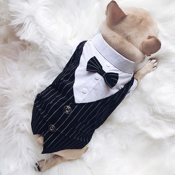 Formal ropa de perro mascotas boda traje de perro traje de esmoquin para mascotas ropa pequeño mediano perros Carlino Bulldog francés corbata ropa de perros