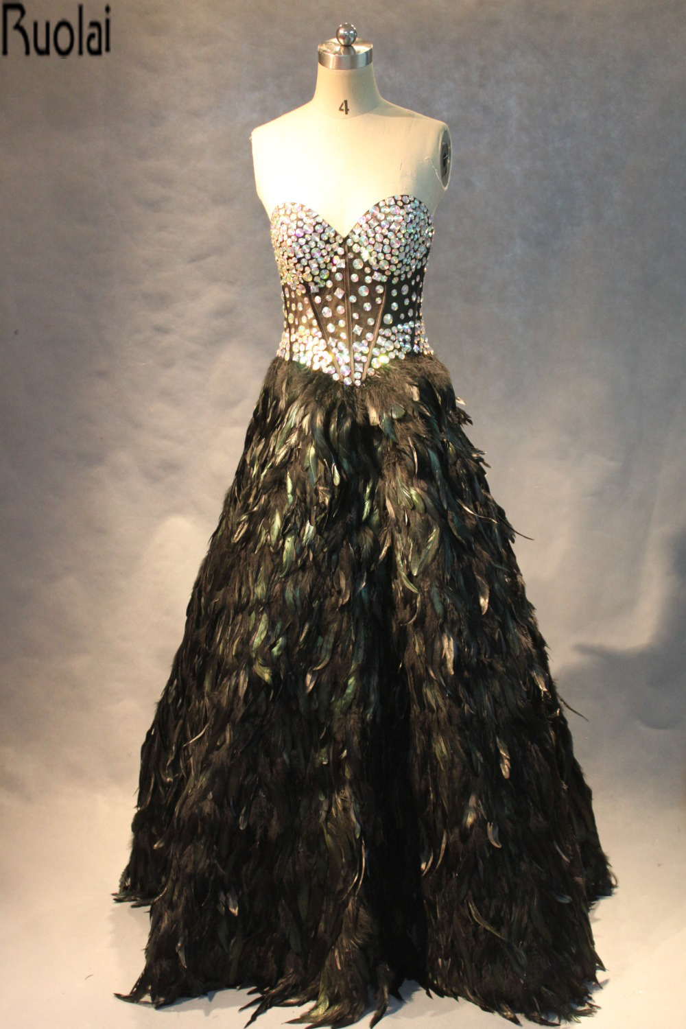 2016 Real Sample Pictures Heavy Beading Crystal Feather Luxury Ball Gown Sweetheart Prom Dresses For Pageant Gown