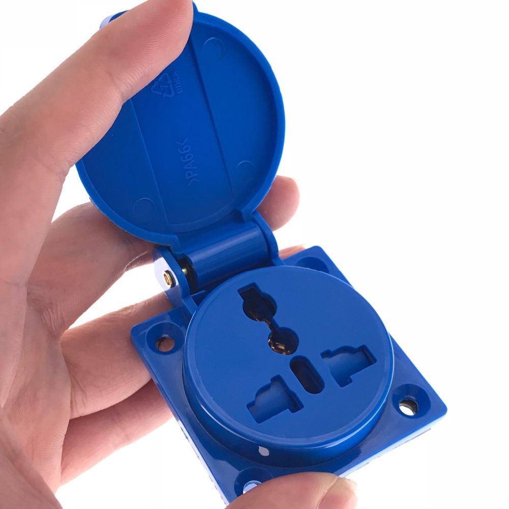 EU/US/AU/UK universal socket industry safety outlet 10A 250V IP44 CE blue universal waterproof universal power connector socket uk fishing industry