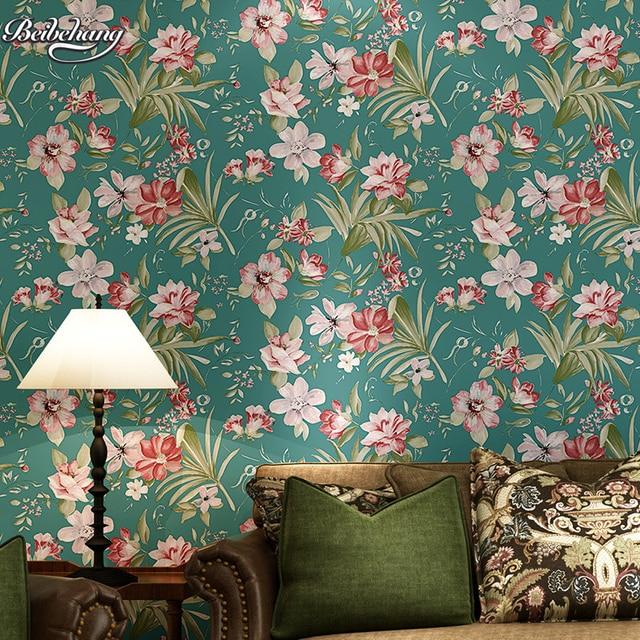 beibehang chalet bleu vert pastorale non tiss s papier. Black Bedroom Furniture Sets. Home Design Ideas