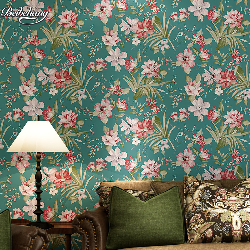 wall paper for living room red and black set beibehang cottage blue green pastoral nonwovens wallpaper ...