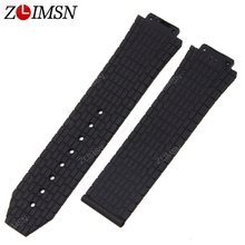 ZLIMSN 10pcs/set Watchbands Black Diver Silicone Rubber 24mmX16mm Watch Band Strap Mens Watches Strap Without Buckle relogio