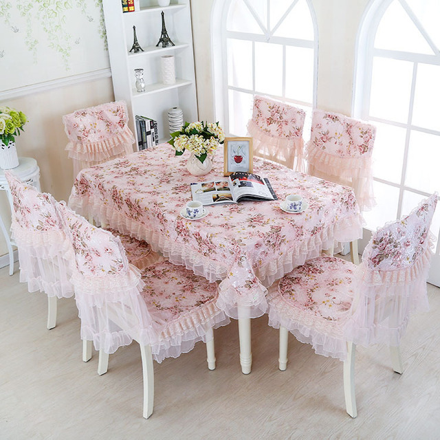 Top Grade Tablecloth Blending With Lace Dinning Table Cover Chair Seat Cover  Cushion Desk Computer Refrigerator