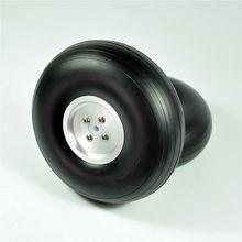 1 Pair 5″/127mm CNC/Dia-Casting Aluminum Hub PU Wheels For RC Airplane Model