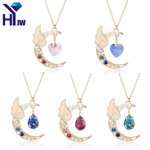HEYu Japan Sailor Moon Card Captor Kinomoto Cute Moon Star Angel Wing Heart Crystal Chain Kawaii  Harajuku Necklace Jewelry