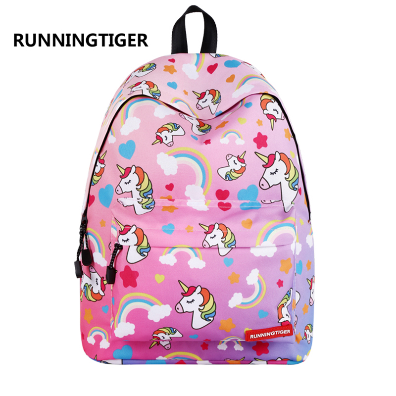 RUNNINGTIGER Cute Unicorn Printing Backpack Women Fashion School Bags for Teenagers Girls Female Travel Mochila Escolar fashion women leather backpack rucksack travel school bag shoulder bags satchel girls mochila feminina school bags for teenagers
