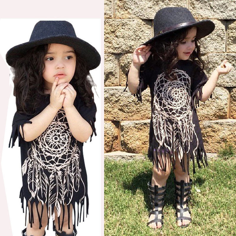 Fashion Baby Girls Dress 2016 New Toddle Kids Summer Tassels Child Girl Dress