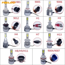 1Pair Car LED Headlight 2 COB 6500K 72W 7600LM H1 H3 H4 H7 9004/9007 9005 9006 9012 880/881 H8/H9/H11 H13  LED Bulb Foglight