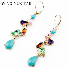 wing yuk tak Brand Earrings New Fashion Jewelry Alloy Multicolor Crystal Long Drop Earrings for Women Factory Wholesale(China)
