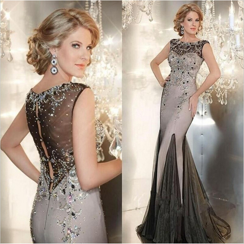 Sexy Designer Long Evening Gowns Crystals Beaded Evening