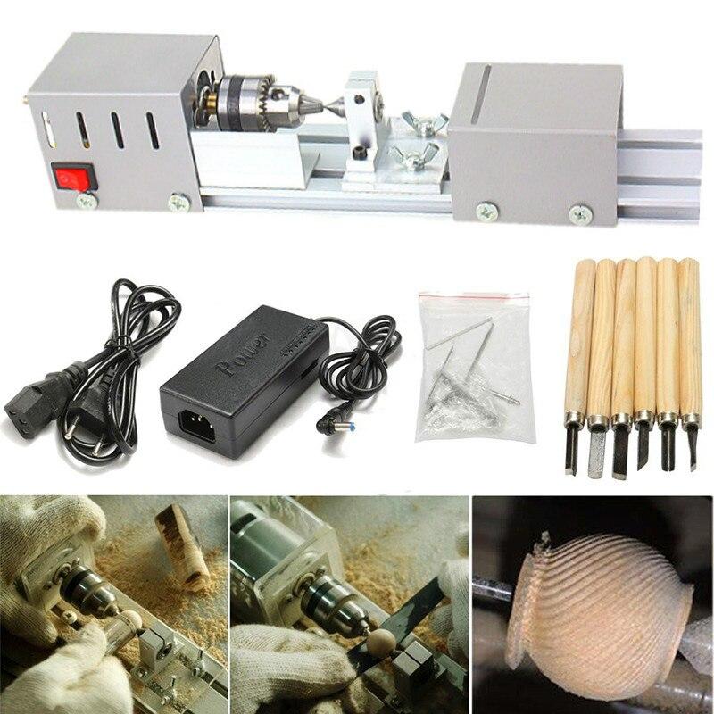 Mini Drehmaschine Holz Drehmaschine Bohrer Dreh Perlen Maschine Polierer Tisch polieren Schneiden 7 geschwindigkeit einstellung Holzbearbeitung Werkzeuge