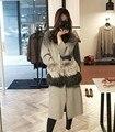 Casaco de pele de vison natural realmente bolsos de pele de moda casaco de lã quente longo casaco com bolsos de pele