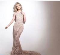 Luxury Cgampagne Lace Long Gown Mermaid Skirt Sleeveless Prom Dresses