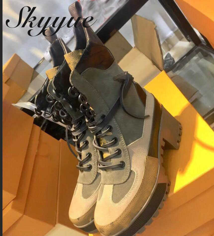 SKYYUE New Genuine Leather Round Toe Lace Up Women Ankle Boots Sexy Platform Thick Heel Women Winter Boots Shoes Women new arrival genuine leather rivets thick heel round toe metal decoration women ankle boots handsome motorcycle winter boots l50