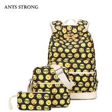 Муравьи сильный частей Леди Повседневная рюкзак/Мода улыбающееся холст сумка большая емкость студент мешок