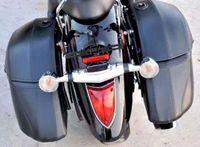 2 Pcs Black Universal Motorcycle Cruiser Hard Trunk SaddleBags Luggage Saddle Bag Case for Yamaha Suzuki Kawasaki Honda New