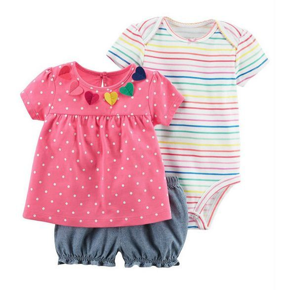 3pcs/set Baby Rompers Set Short Sleeve Cotton Infant Baby Floral Newborn Baby Clothes Romper Pants T Shirt Baby Girl Clothing