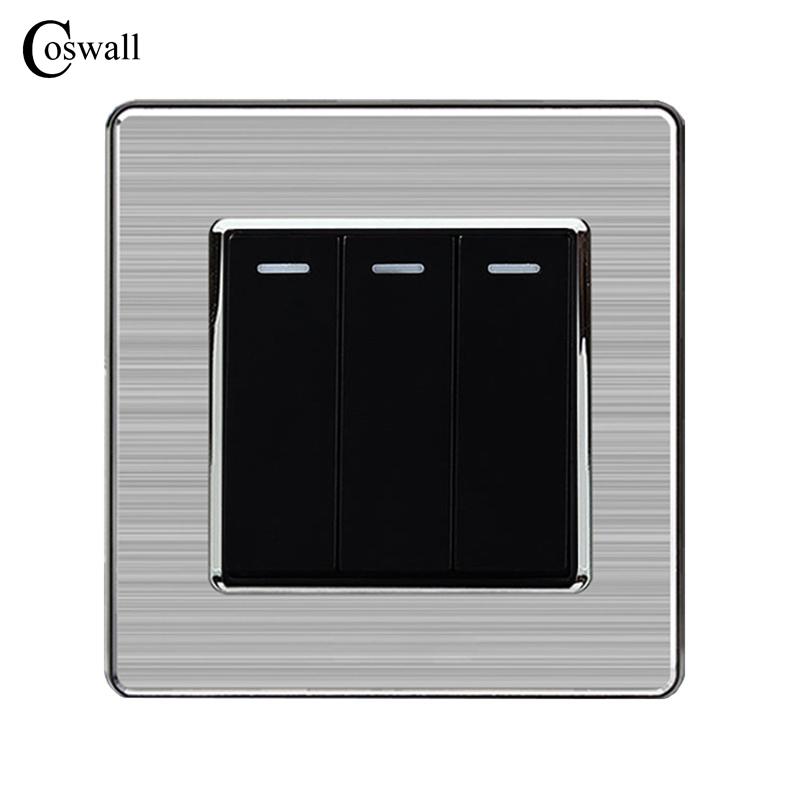 Coswall 3 Gang 1 Way Luxury Light Switch Push Button Wall Switch Interruptor Stainless Steel Panel AC 110~250V