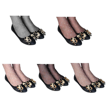 10PCS Women Silk Stockings Lady Thin Polka Dots Transparent Ankle Stockings Girl High Elastic Short Crystal