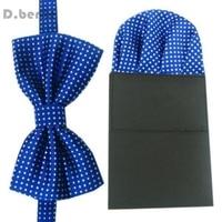 New Mens Royal Blue Pre tied Bowtie Wedding Party Polka Dot Handkerchief Bow Tie FJBW07