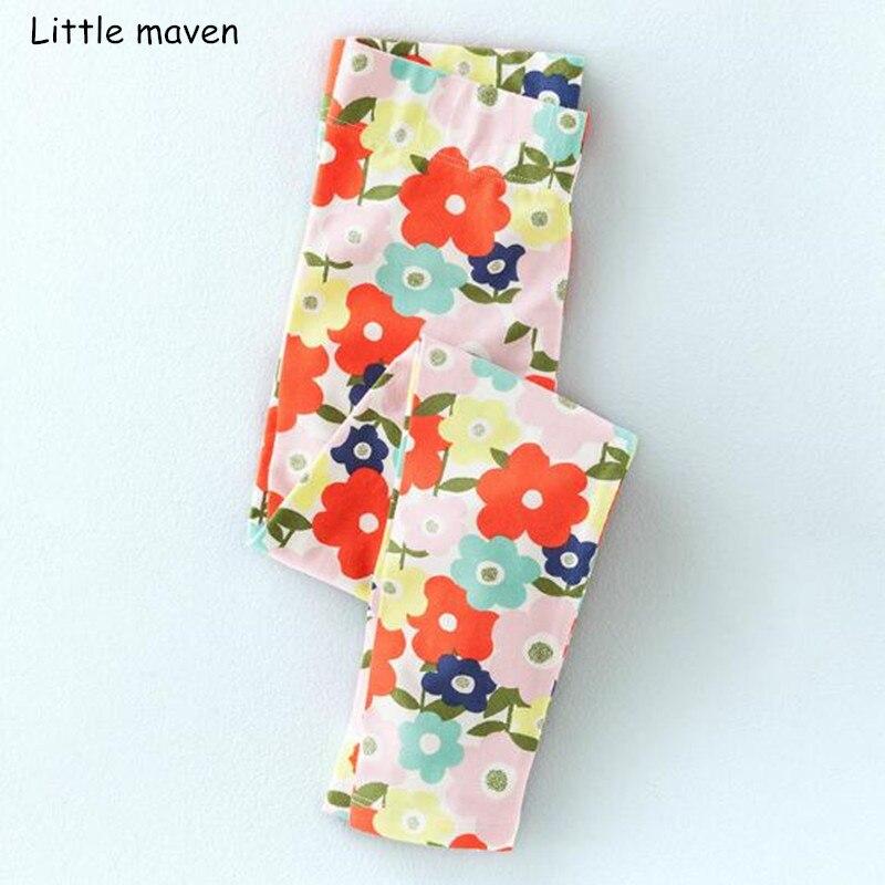 Little maven/2018 осенние детские штаны для девочек хлопковые леггинсы с эластичным поясом Детские животного с цветочным принтом осенние брюки
