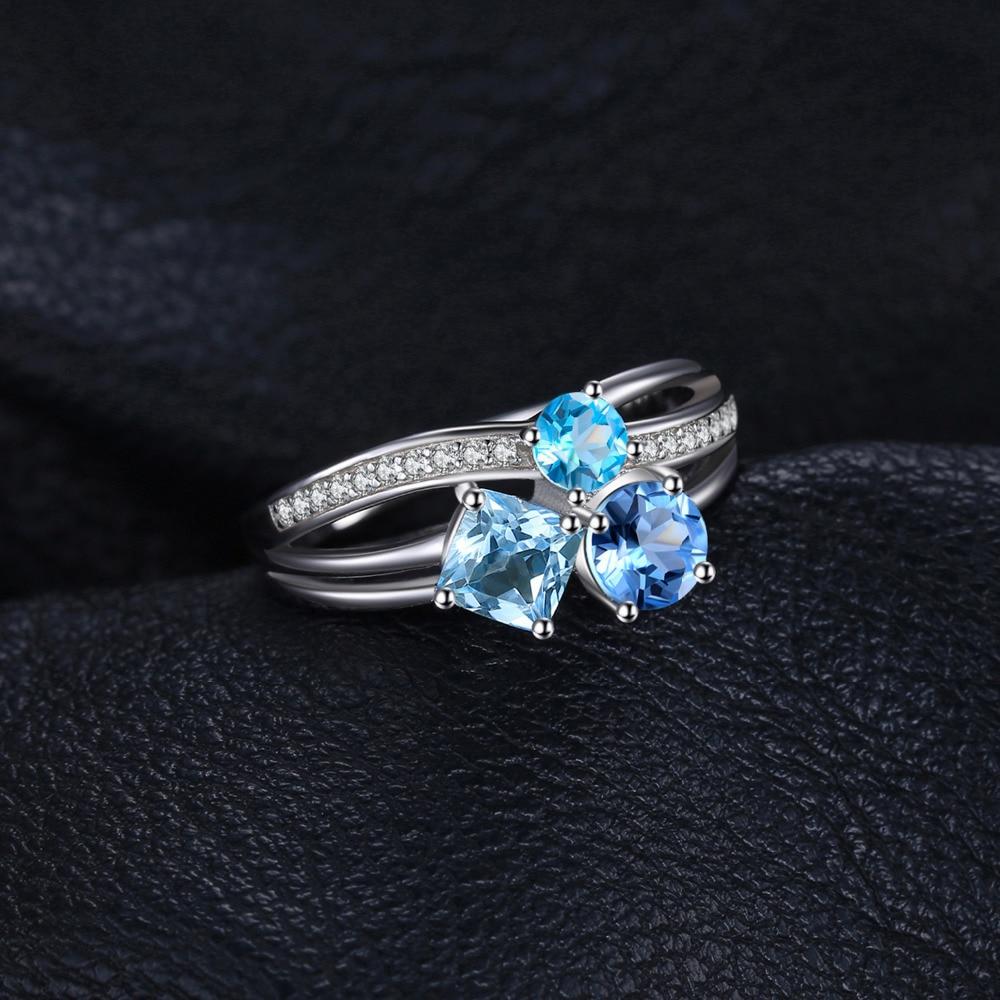 NakitPalace 1.7ct Pravi Multi London Blue Topaz 3 Stonesi Prsten - Fine nakit - Foto 2