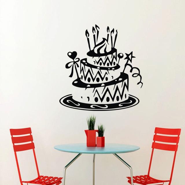 Decoración de cumpleaños torta Adhesivos de pared Decoración para el ...