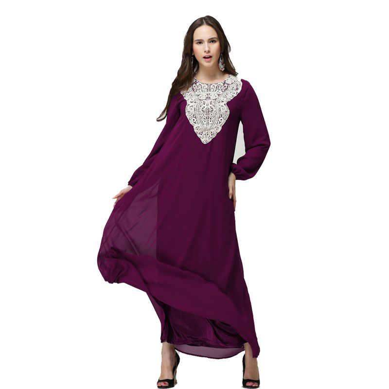 Новый Кафтан Jilbabs и исламский халат Вышивка платья для женщин джинсовая Абая, для мусульман abaya для леди кружева мусульманская одежда